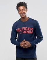 Tommy Hilfiger Sweatshirt With Logo Print In Navy