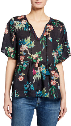 Johnny Was Boho Floral Print Linen Blouse