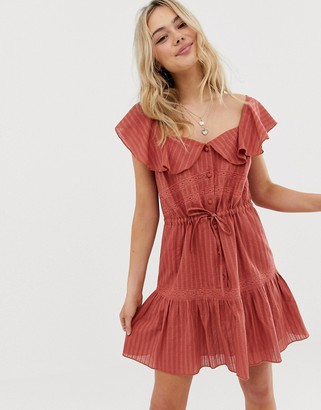 Asos Design DESIGN sleeveless lace insert mini dress with drawstring waist-Red