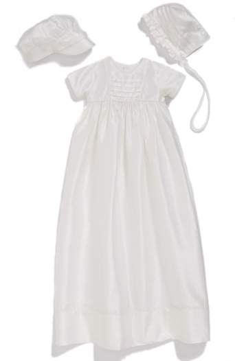 Little Things Mean a Lot Infant Girl's Dupioni Christening Gown With Hat And Bonnet Set