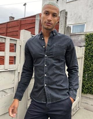 ASOS DESIGN stretch slim organic denim shirt in washed black