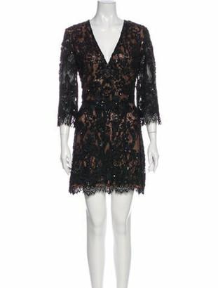 Elie Saab Lace Pattern Mini Dress Black