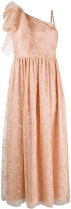 RED Valentino Glitter Floral One-Shoulder Dress