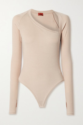 Alix Stratton Ribbed Stretch-modal Jersey Thong Bodysuit - Beige