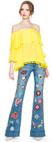 Alice + Olivia New Ryley Embroidered Low Rise Bell Jean