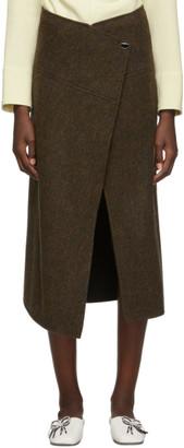 Victoria Beckham Brown and Black Side Split Tweed Skirt