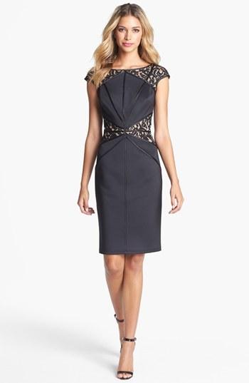 Tadashi Shoji Lace Inset Jersey Sheath Dress