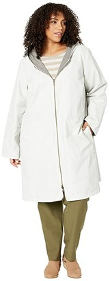 Eileen Fisher Plus Size Organic Cotton Nylon Outerwear Hooded Jacket (Bone) Women's Clothing