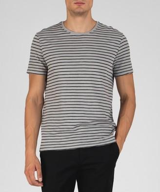 Atm Striped Jersey Crew Neck Tee - Grey/ Black Combo