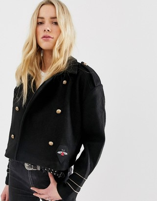 Blank NYC Riot wool blend biker jacket-Black