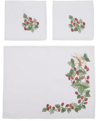 Loretta Caponi - Strawberry-embroidered Placemats & Napkins Set - Red Multi