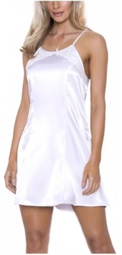 iCollection Women's Ultra Soft Halter Satin Chemise with Crisscross Straps