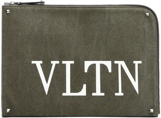Valentino Olive Canvas VLTN Document Case