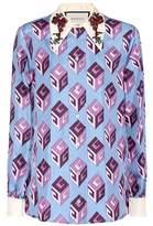 Gucci Chemise en soie imprimée à cris
