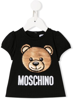 MOSCHINO BAMBINO sequin embellished bear T-shirt