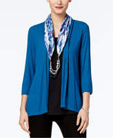 NY Collection Layered-Look Top and Beaded Scarf