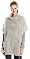 Colourworks Colour Works Women's Turtle Neck Poncho with Cable Stitches
