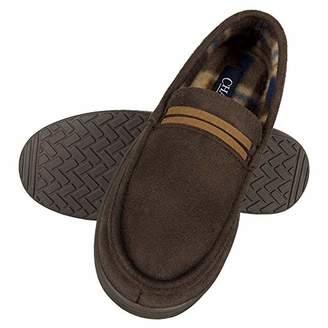 Chaps Boys' Slipper House Shoe Moccasin Memory Foam Suede Indoor Outdoor Nonslip Sole