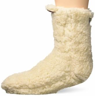 Dearfoams Women's Sherpa Fluffy Slipper Sock with Plaid Scrunchie