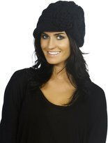 Simplicity Women's Winter Knit Ribbed Beanie with Visor and Flower