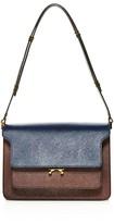 Marni Trunk Color Block Saffiano Leather Shoulder Bag