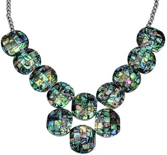 Aeravida Handmade Vibrantly Colorful Abalone Shell Mosaic Linked Medallion Bib Necklace