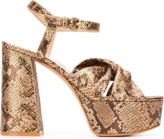 Gianvito Rossi Metallic Snakeskin Effect Sandals