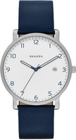 Skagen Men's Blue Leather Strap Watch 40mm SKW6335