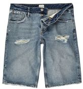 River Island MensMid blue wash wide leg denim shorts