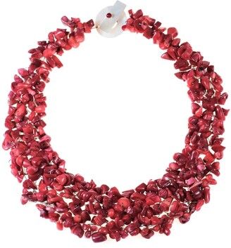 Aeravida Handmade Synthetic Coral Bead Cluster Red Toggle Necklace