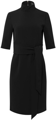 Toccin Mock-Neck Front Tie Sheath Dress