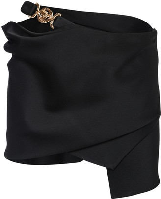 Versace Asymmetrical Satin Mini Skirt