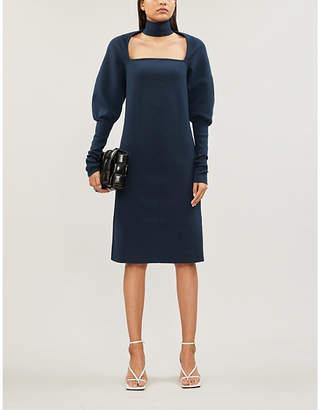 Bottega Veneta Cut-out peasant-sleeve wool-blend midi dress