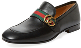 Gucci GG Web Strap Leather Loafer