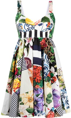 Dolce & Gabbana Patchwork Print Flared Mini Dress