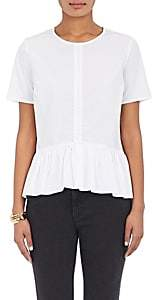 Barneys New York WOMEN'S PLEATED COTTON PEPLUM TOP - WHITE SIZE 40 IT