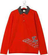 Armani Junior graphic print polo shirt