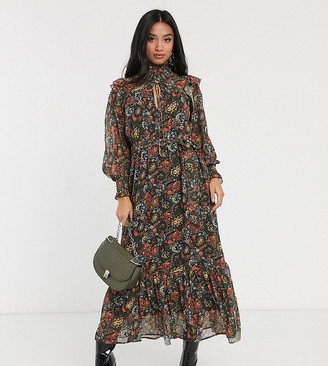 Y.A.S Petite maxi dress with drop hem and key hole detail in mixed paisley