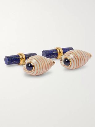 Villa 18-Karat Gold, Shell, Lapis Lazuli And Sapphire Cufflinks