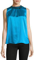 Elie Tahari Betsy Sleeveless Silk Blouse w/ Peacock Feathers