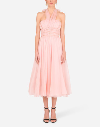 Dolce & Gabbana Organza Calf-Length Dress With Halter Neck