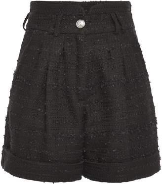 Balmain Pleated Boucle-tweed Shorts