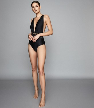 Reiss Laila - Plunge Front Swimsuit in Black