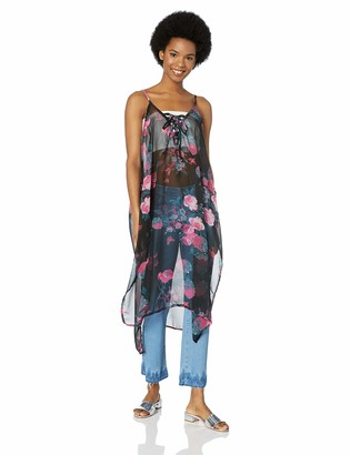 Steve Madden Women's Tie Front Floral Poncho
