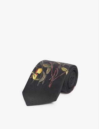 Alexander McQueen Floral-print small silk tie