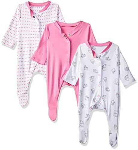 Mothercare Baby Girls' Heart Sleepsuits - 3 Pack Bodysuit Dark Pink 185, (Size:2.3kg)