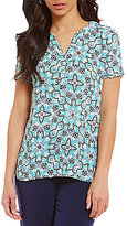 Investments Split Neck Short Sleeve Printed Top
