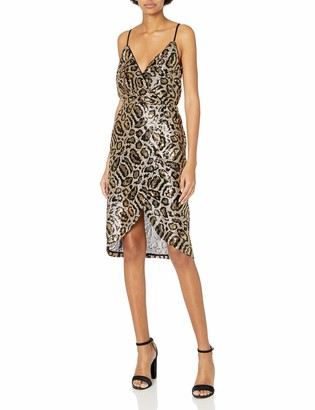 J.o.a. Women's Sleeveless Sequin Wrap Dress