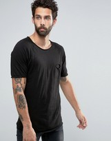 Pull&Bear T-Shirt In Black With Pocket and Curved Hem