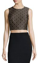 Michael Kors Sleeveless Floral-Print Crop Top, Suntan